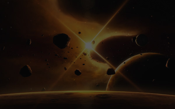 Asteroids in Space (Gold)